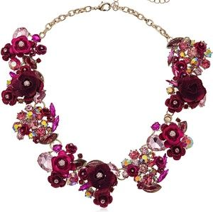 Betsey Johnson Cluster Pink and Stone Necklace